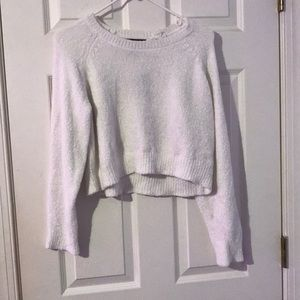 White cropped fuzzy sweater
